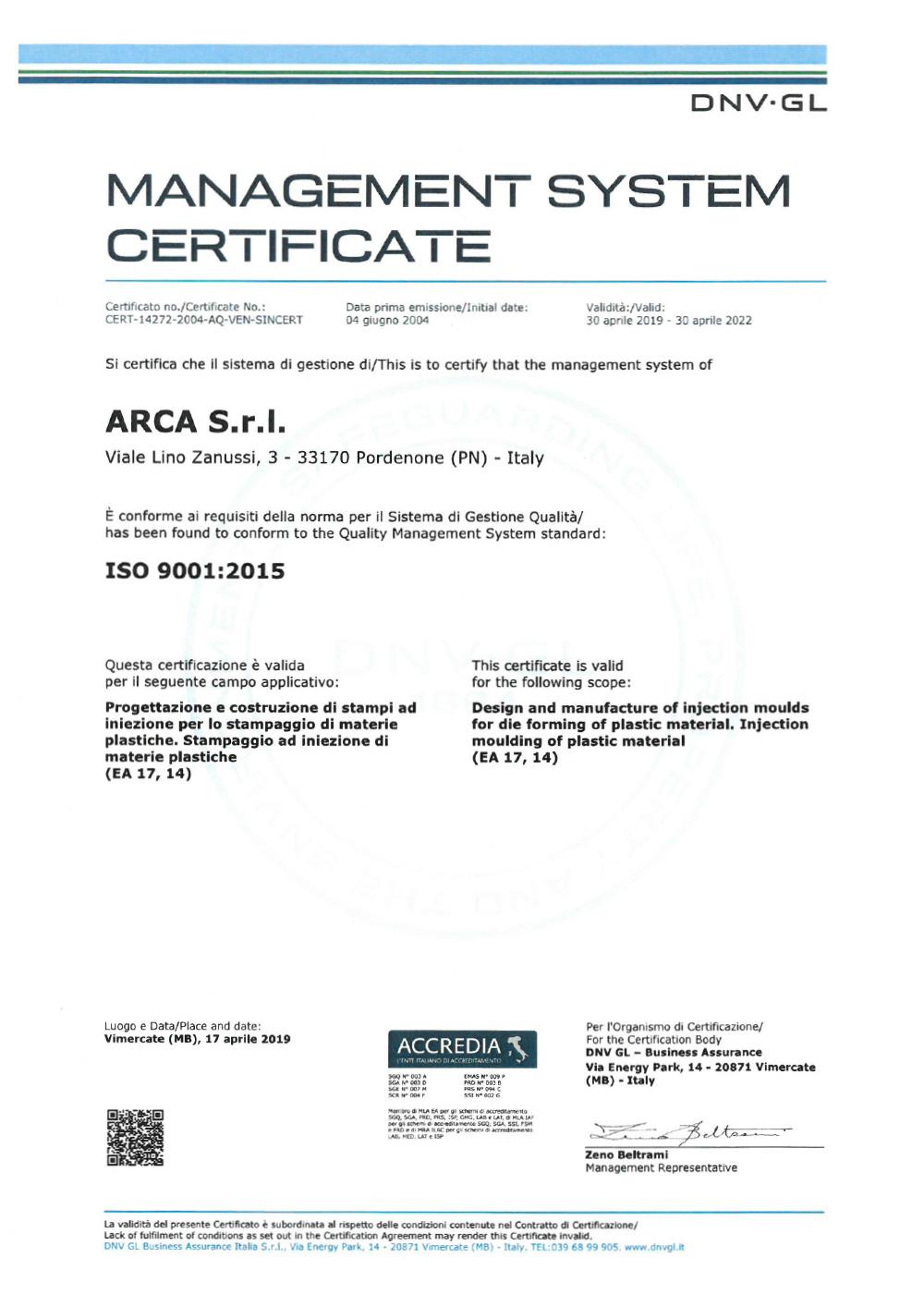 Certificazione ISO 9001 Arca