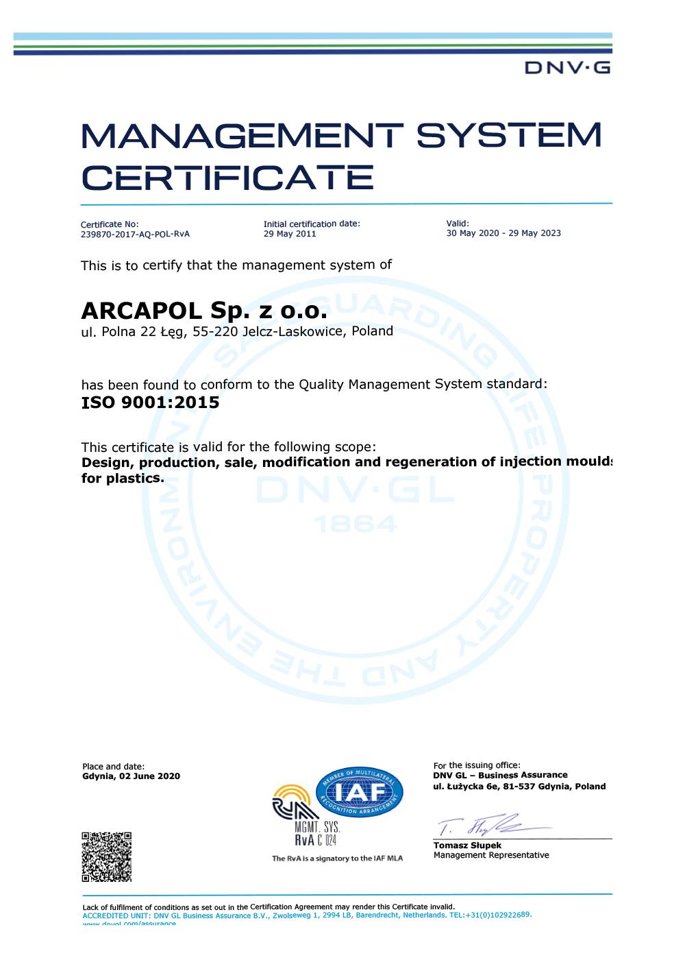 Certificazione ISO 9001 Arcapol
